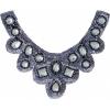 Motif Sequin/beads 27x11.5cm U Shape with crystal stones Gunmetal